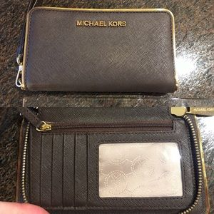 Brown Michael Kors Leather Zip Wallet